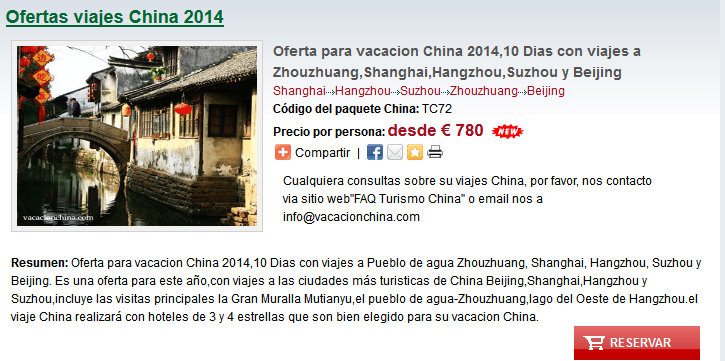 ofertas viajes China 2014